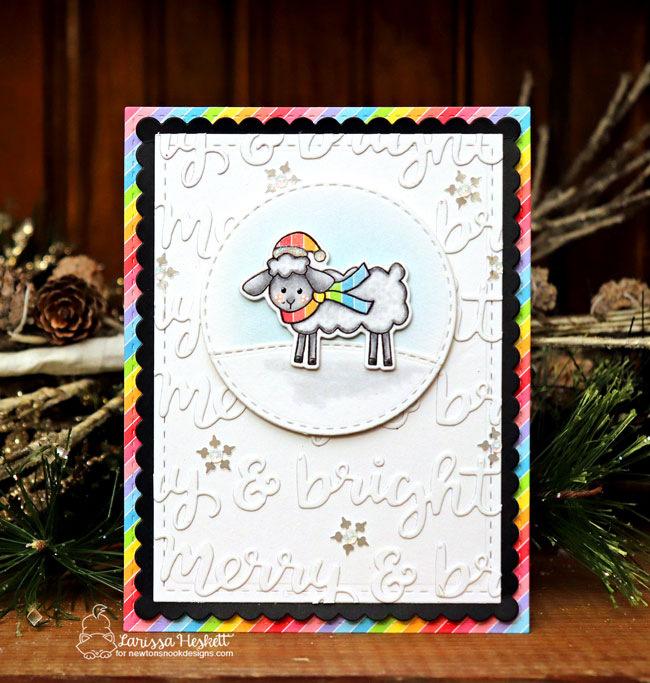 Sheep Christmas Card by Larissa Heskett | Fleece Navidad Stamp Set and Holiday Greetings Die Set by Newton's Nook Designs #newtonsnook #handmade