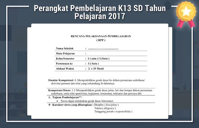Perangkat Pembelajaran K13 SD Tahun Pelajaran 2017