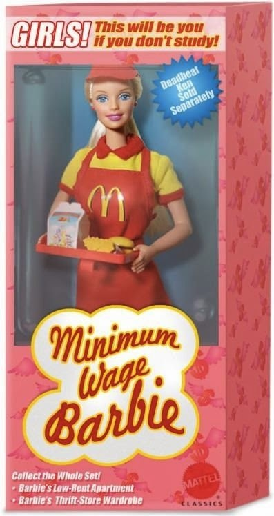 Funny Minimum Wage Barbie Joke Product Picture