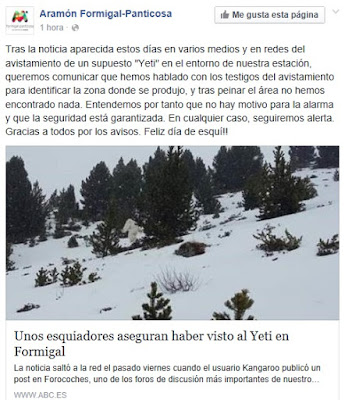 Comunicado estación Formigal Yeti