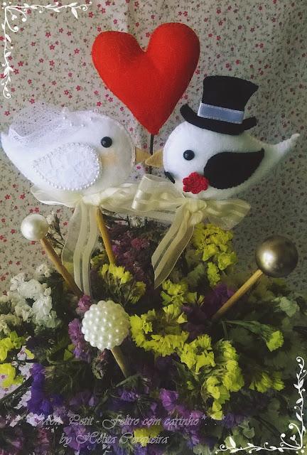 topo de bolo-em feltro-para casamento-noivos-passarinhos-marriage