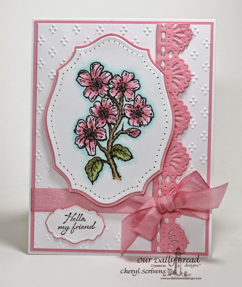 Our Daily Bread Designs, ODBDSLC211, Cherry Blossom, Iris, Elegant Ovals dies, Beautiful Borders dies, Antique Labels & Border Dies, CherylQuilts, Designed by Cheryl Scrivens