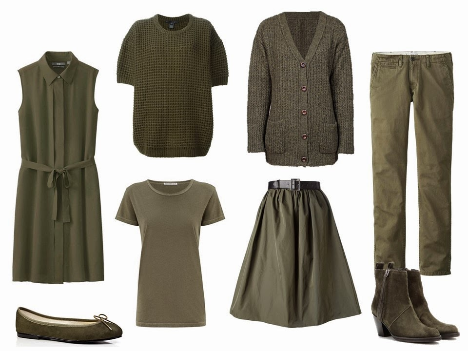 Olive Capsule Wardrobe With Accessories In Brown Lacy