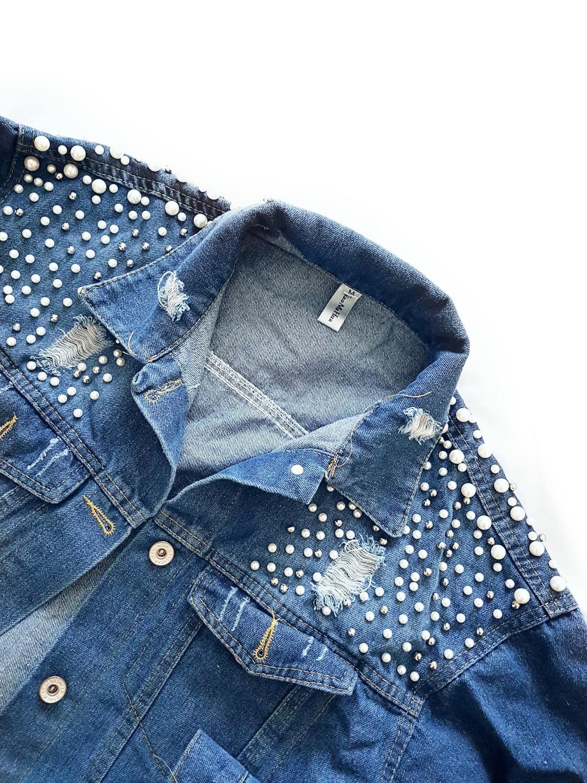 Pearls & pleated midi czyli plisowana spódnica i jeansowa kurtka
