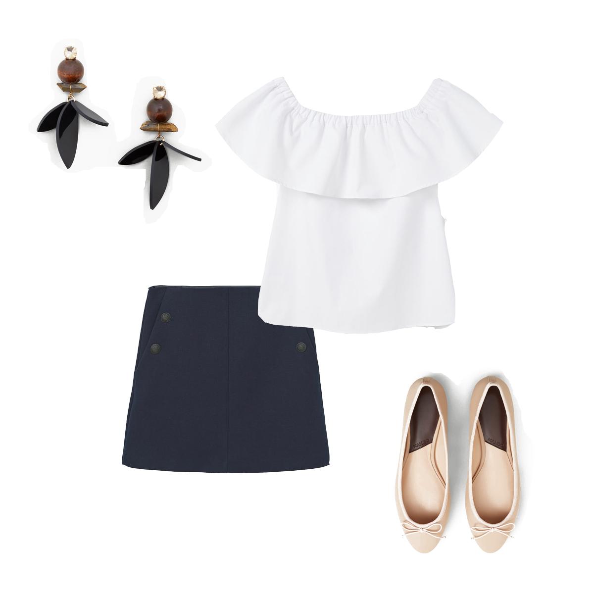 look volados falda blusa