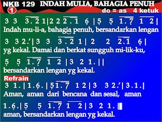 Lirik dan Not NKB 129 Indah Mulia, Bahagia Penuh