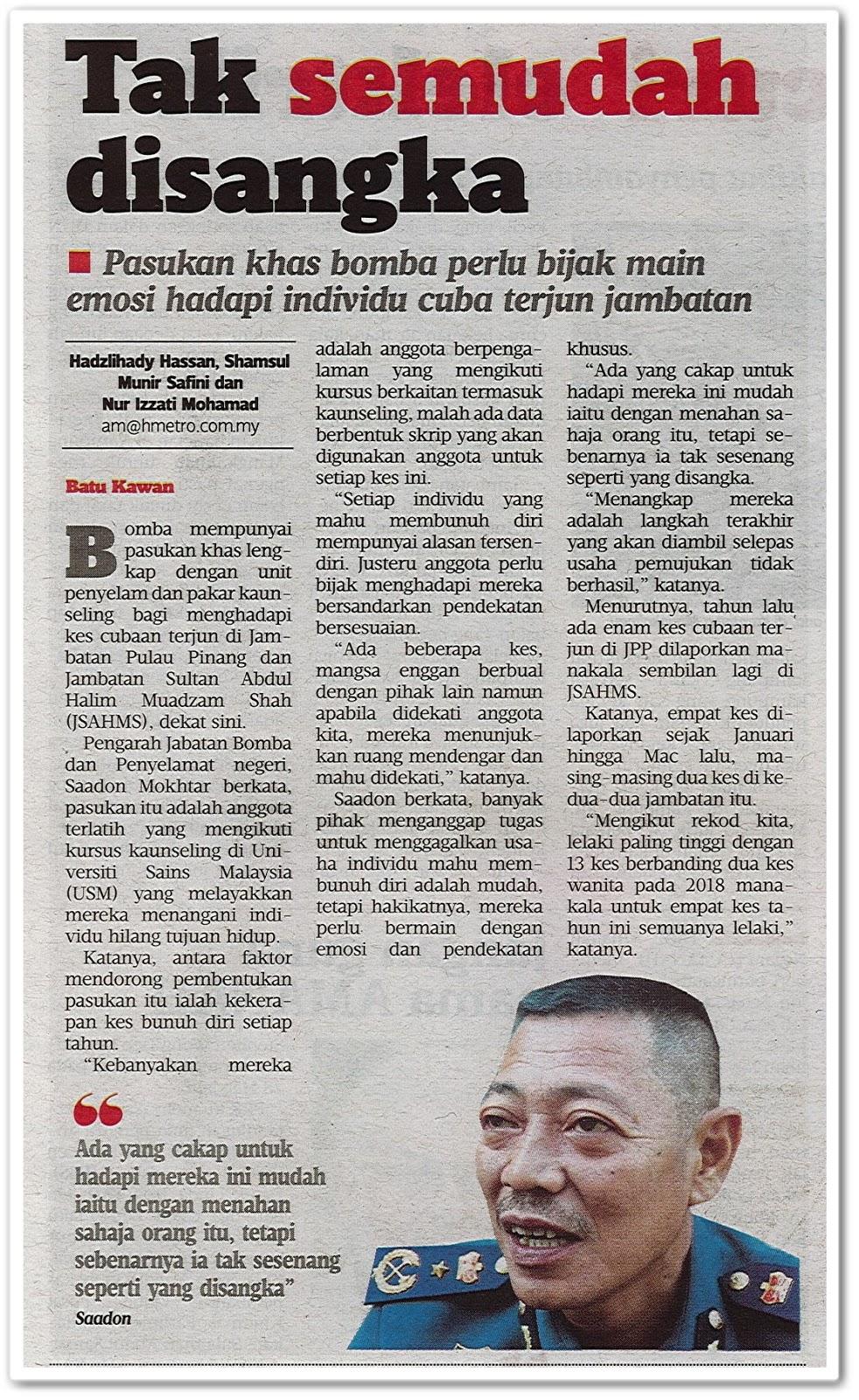 Tak semudah disangka - Keratan akhbar Harian Metro 3 Mei 2019