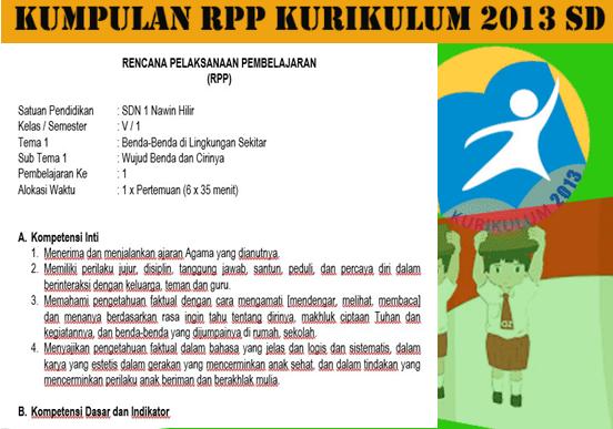 Rpp Kelas 5 Sd Kurikulum 2013 Revisi Semester Ganjil Informasi Pendidikan