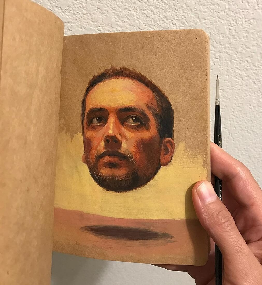 11-Raoof-Haghighi-Gouache-Acrylic-and-Watercolour-Paintings-on-a-Sketchbook-www-designstack-co