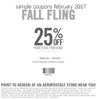 free Aeropostale coupons february 2017