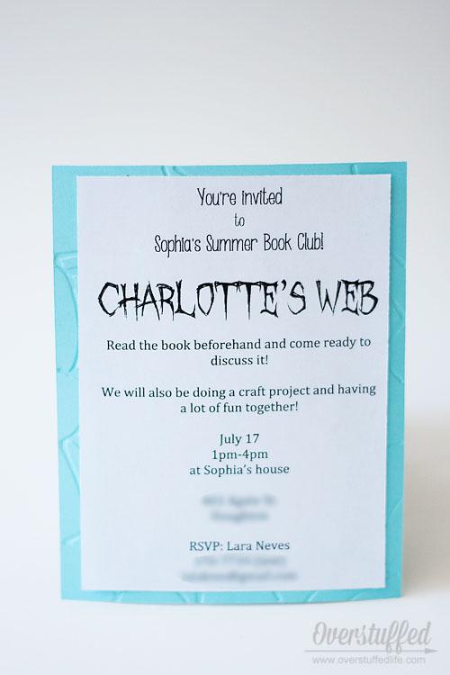 Charlotte's Web Book Club Invitation