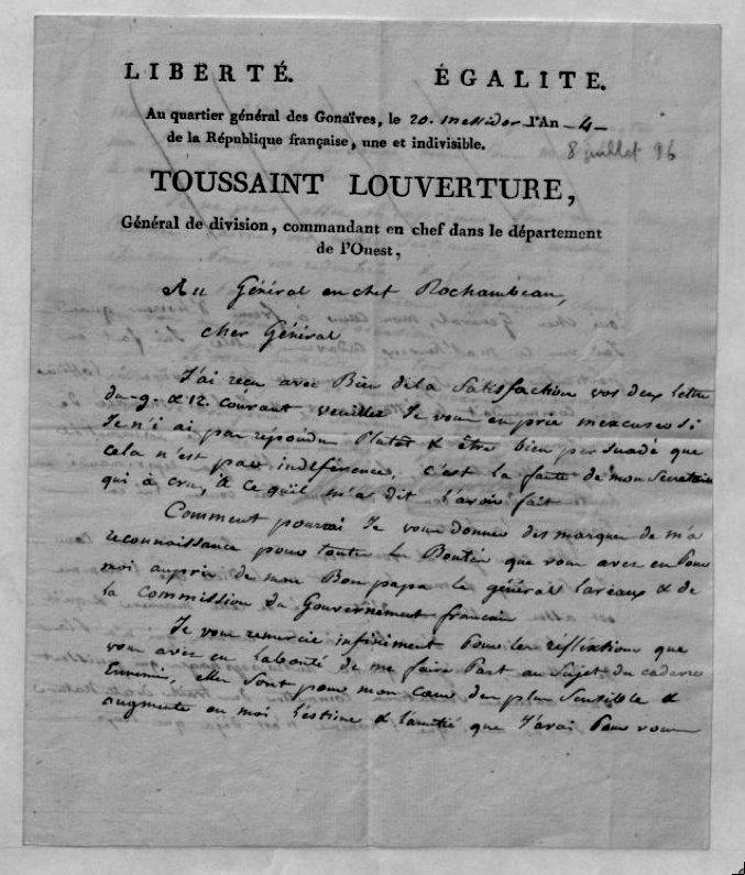toussaint louverture writings