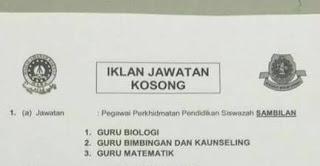 Jawatan Kosong Guru Sambilan MRSM Terbaru