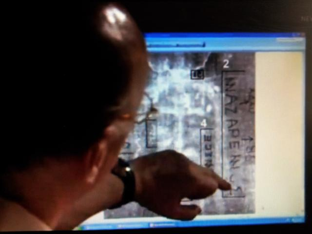 NEW DISCOVERY!! Mark Guscin,  B.A. M. Phil., discovers Latin and ancient Greek letter's on the Shroud of Turin that reads in code:  Nazarene, Tiberius and Jesus.