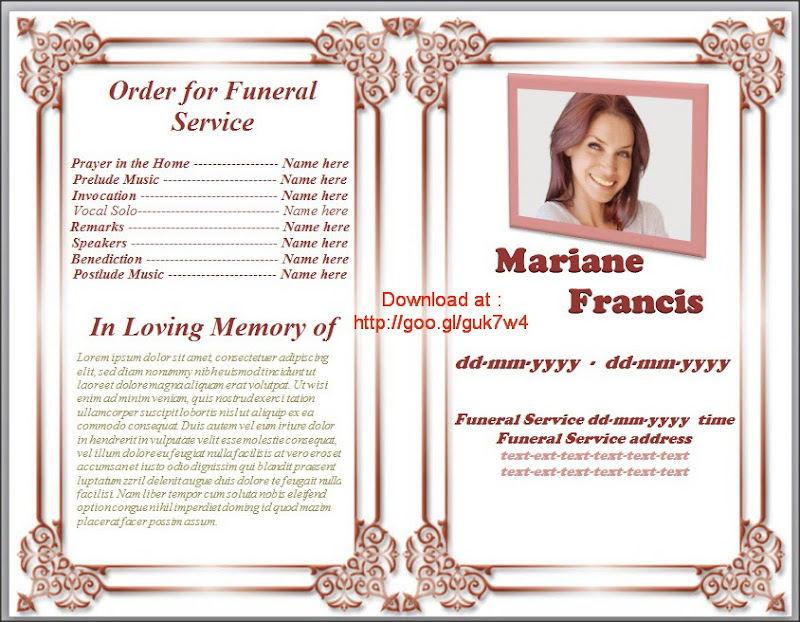 Free Funeral Program Templates program template funeral and – Sample Funeral Programs