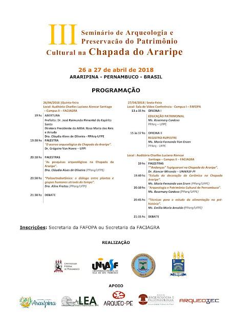 Aeda sedia III Seminário de Arqueologia e Preservação do Patrimônio Cultural na Chapada do Araripe