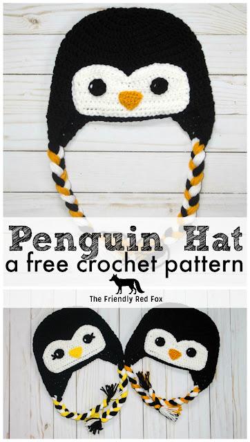 Free Crochet Pattern For Penguin Hat : Free Crochet Hat Friendly Penguin - The Friendly Red Fox