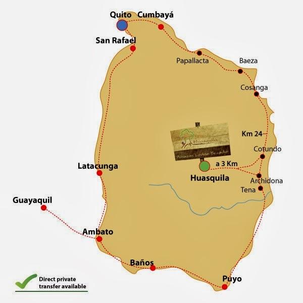 como llegar a las cabañas Huasquila Amazon Lodge