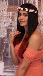 Adah Sharma Looks Angelic Beauty in off Shoulder Orange Gown Spicy Pics February 2017 008.jpg