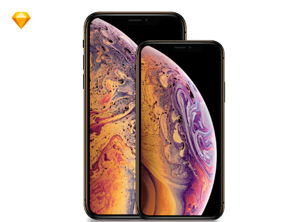 Download Apple iPhone Xs, iPhone Xs Max Mockup Free [Sketch]
