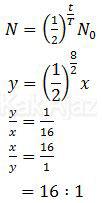 Menghitung massa mula-mula dengan massa yang tersisa setelah peluruhan