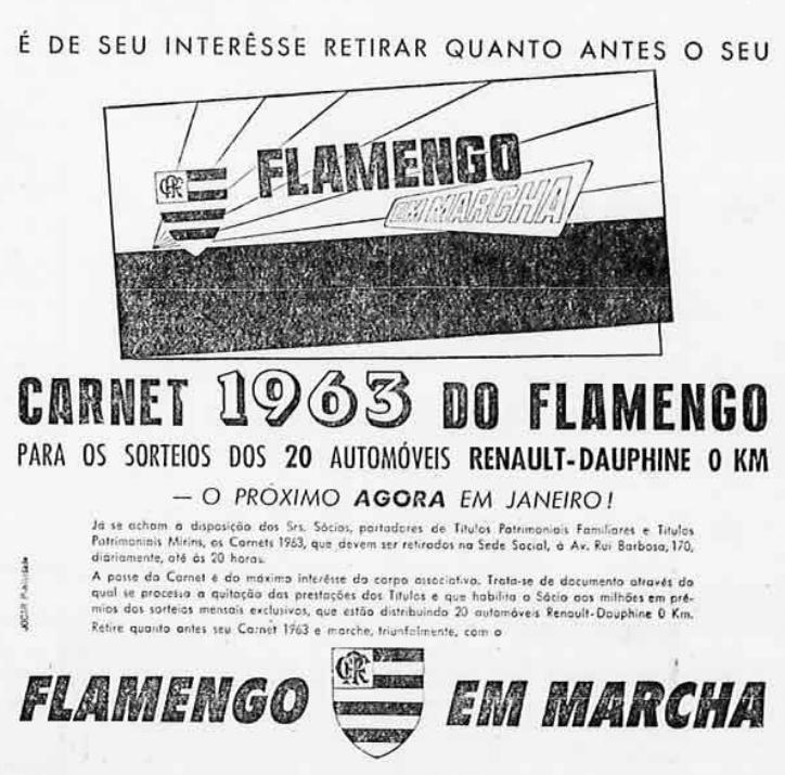 Campanha do Flamengo promovendo carnês junto aos torcedores para ampliar receita