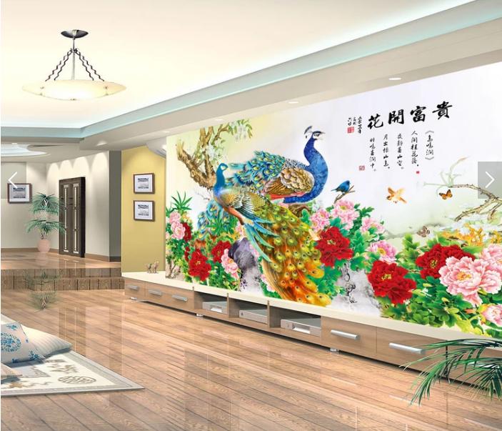 Tranh 3d dán tường phòng khách khổng tước hoa mẫu đơn