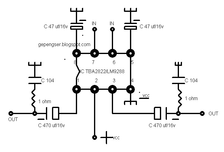 SCHEMATIC: IC TBA2822/LM9288 MINI AUDIO