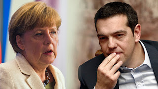 Merkel and Tsipras at earlier summit.
