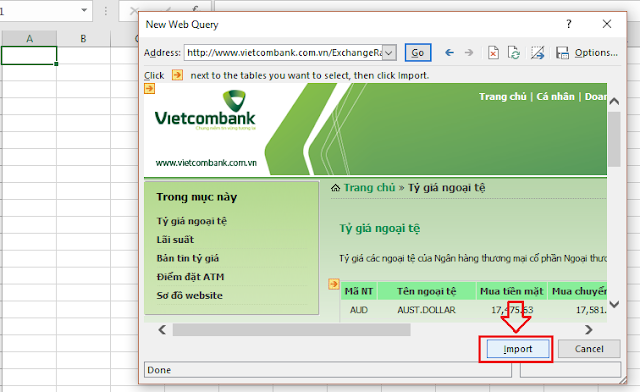 Cập nhật tự động tỷ giá ngoại tệ trên Excel