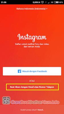 cara daftar akun instagram pake nomor hp