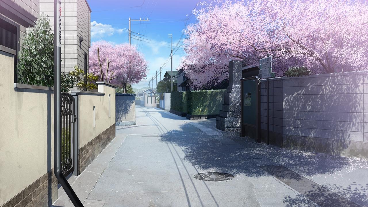 Falling Cherry Blossom Wallpaper Hd Anime Landscape City Anime Background
