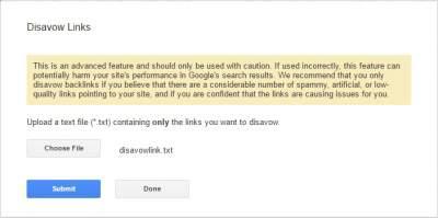 mengirim file berisi disavow links