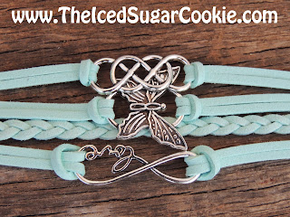Teal Butterfly Love Infinity Sign Leather Bracelet by The Iced Sugar Cookie