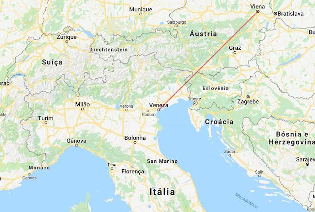 Mapa da viagem de Veneza a Viena