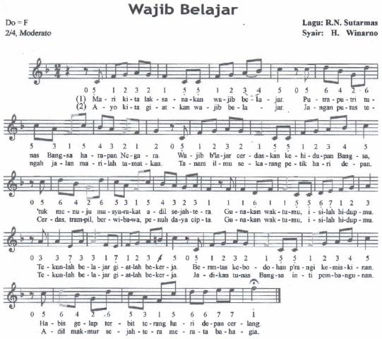 Notasi Lagu Wajib Belajar Syair : Restu Narwan Sutarmas dan H. Winarno