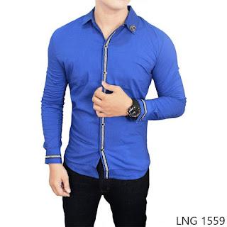 Male Stretch Shirt, Biru, Stretch, M-L