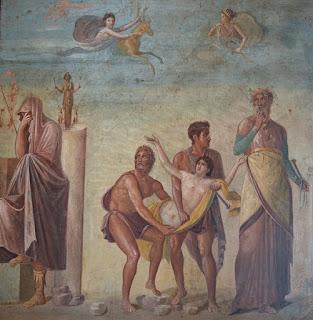 Het offer van Iphigenia op een 1e-eeuws fresco uit Pompeii (Nationaal Archaeologisch Museum, Napels)