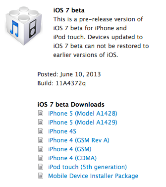 Apple iOS 7 Beta IPSW Firmwares