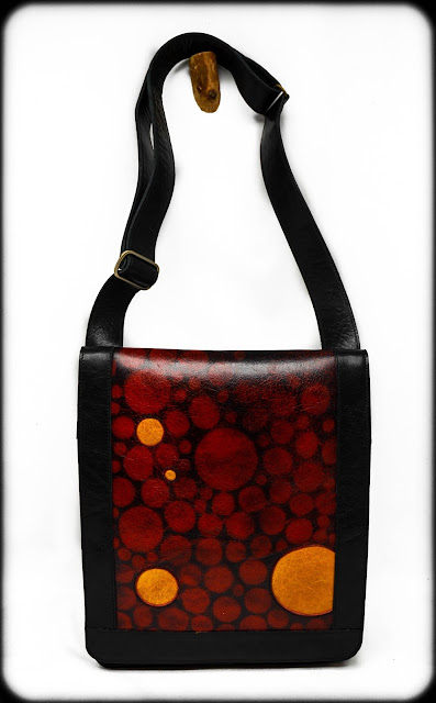Chemical Wedding Handbags, black and red leather shoulder bag with adjustable strap