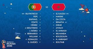 Susunan Pemain  Portugal Vs Maroko - Piala Dunia 2018.