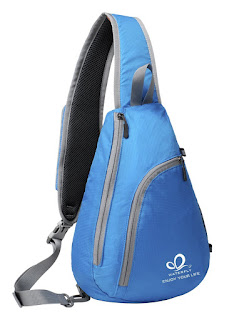 BEST Sling Shoulder Backpacks 9.34 GBP for Hiking , brand : WATERFLY, deals end 17:50  (BLUE)