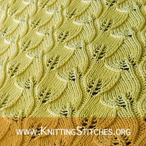 Overlapping Leaves stitch | Knitting Stitches | Knitting Stitch Patterns