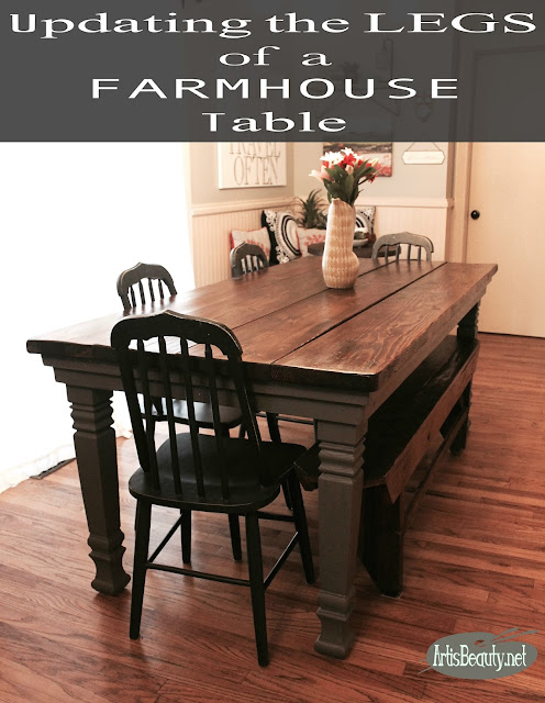 updating the legs of a DIY build it yourself Farmhouse TABLE painted makeover GENERAL FINISHES Karin Chudy