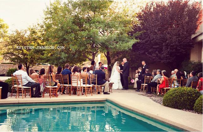 Real weddings kara will by kristen swanson belle for Garden pool wedding