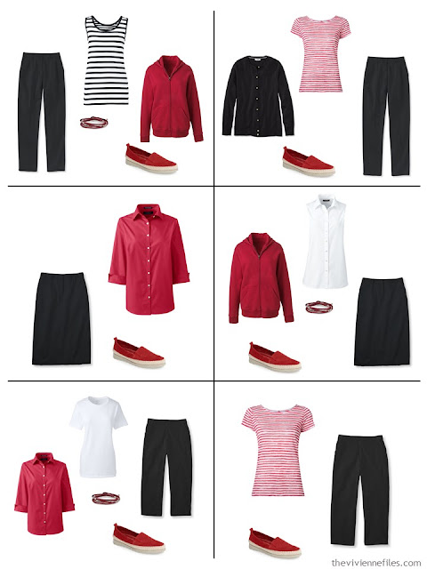 six outfits in red, black and white for summertime