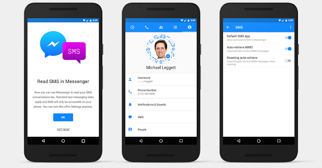 Android users will be able to send SMS messages directly from Facebook Messenger