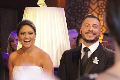 Os noivos Fabiana e Fabiano (Crédito: Gabriel Gabe/SBT)