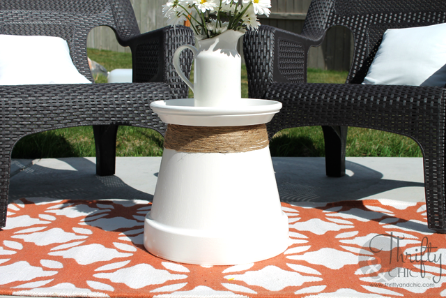 Terracotta pot repurposed into accent table