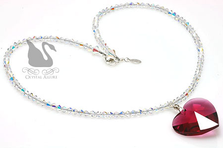 Be My Valentine Red Crystal Bordeaux Heart Necklace (N031)